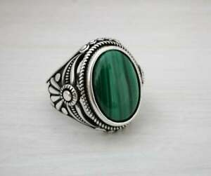 Solid 925 Sterling Silver Oval Malahite Gemstone Turkish Mens Ring For Love MR27
