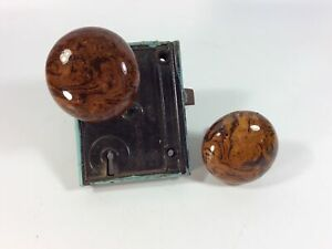 Antique Porcelain Door Knob Set, Brown Marble Swirl/Tiger Eye Design