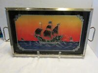 SAILING SHIP SERVING TRAY REVERSE PAINTED GLASS NAUTICAL ART DECO TIN Vtg