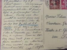 CARTE POSTALE  SIGNE RARE 1937  EUGÈNE BIGOT CHEF D'ORCHESTRE 1888 1965