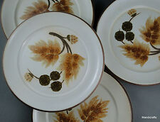 Denby UK Stoneware Bread Plate x 4 Cotswold 1970s Brown Plant Leaves Acorns Stem