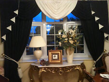 DESIGNER CURTAINS SWAGS AND TAILS PLAIN BLACK & WHITE OR IVORY FULLY LINED