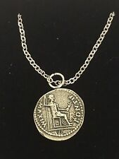 """Denarius Of Tiberius Coin WC60 Pewter On 24"""" Silver Plated Chain Necklace"""