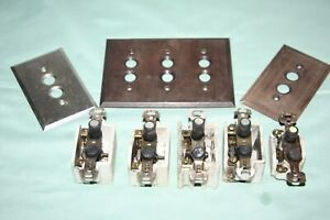 Vintage Lot of 5  Push Button Porcelain Body Light Switches + 3 Switch Plates
