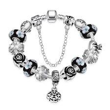 White Gold Plated European Beads Flower Black Lucky Charm Bracelet L28