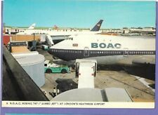 BOEING 747 AIRLINER HEATHROW AIRPORT Original Vintage Old Postcard KN