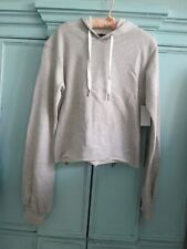Benjamin Jay-Gray French Terry Hooded Cropped Raw Edge Sweatshirt-XS -New w/tags