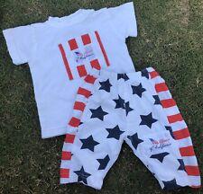 Vtg Baby Guess 18 Months T-Shirt Sweat Pants America Play Set Usa Stars Stripes