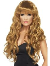 Brown Siren Wig Long, Curly with Fringe Adult Womens Smiffys Fancy Dress Costume