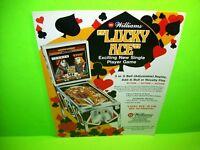Williams LUCKY ACE 1974 Original Flipper Arcade Game Pinball Machine Sales Flyer