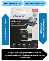 128GB Micro SD Carte Mémoire Classe 10 U3 Samsung Galaxy S7, S8 Actif, S10 Lite