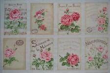 coupon de 8 vignettes de tissu patchwork shabby Mary Rose ton crème