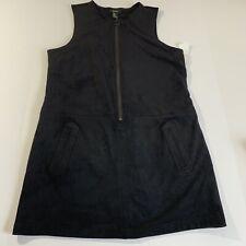 FOREVER 21 DRESS SZ M ZIP FRONT SLEEVELESS BLACK (A-12p)