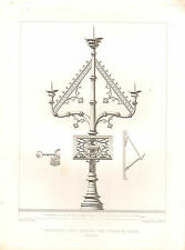 1851 FRENCH ARCHITECTURAL PRINT CANDELABRA THREE BRANCHES IN THE CHURCH GAURAIN