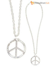 Adults Metal Peace Sign Necklace Mens Ladies 60s 70s Hippie Hippy Fancy Dress