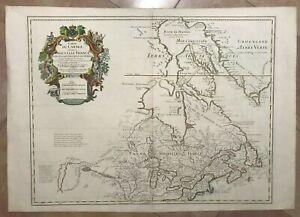 CANADA NOUVELLE FRANCE 1703 GUILLAUME DELISLE UNUSUAL LARGE ANTIQUE MAP 18e CENT