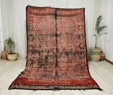 Moroccan Beni Mguild Handmade Vintage 5'7x8'6Geometric Faded Red Berber Wool Rug