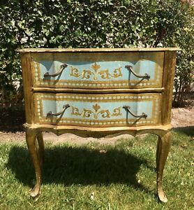Vintage Italian Florentine Gold Gilt Tiffany Blue Wooden Accent Table W/ Drawers