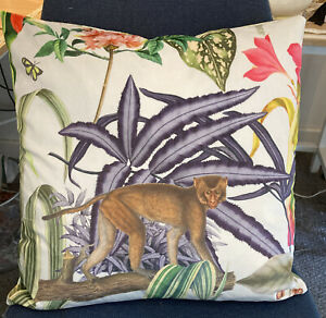 "Prestigious Velour Monkey Tropical Garden Exotic Flower Fabric 17"" CUSHION COVER"