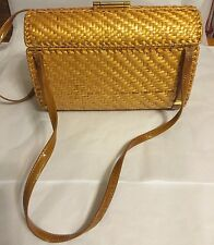 Vintage Rodo Italian Wicker Straw Shoulder Purse, Handbag Brass Closure
