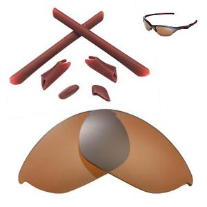 New Walleva Polarized Brown Lenses And Rubber Kit For Oakley Half Jacket
