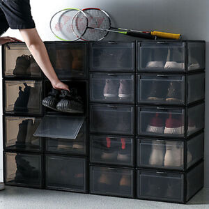 10PCS Drop-Front High Shoes Box Stackable Sneaker Container Large Storage For AJ