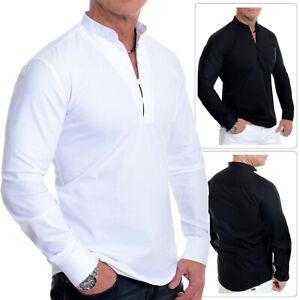 Men's Henley Short Long Shirt Smart Grandad Collar Loops Cotton White Black Slim
