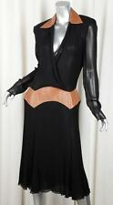 VERSACE COUTURE Womens VINTAGE Black Silk+Brown Leather Shirt Dress 44/8 M