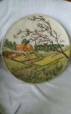Beautiful 3D Chalk ware Byron Mold 1978 Wall Plate Farm Farmer Spring Scene