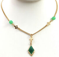 VINTAGE Y NECKLACE GREEN ENAMEL LARIAT GOLD TONE METAL CHAIN COSTUME JEWELRY