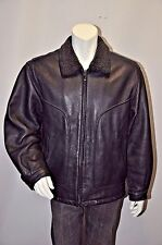 PERRY ELLIS PORTFOLIO Men's Black Faux Fur Leather Full Zip Jacket Sz L