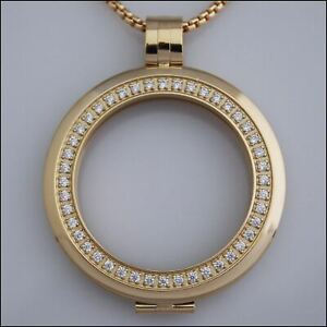 Smooth Surround Crystal Coin Holder Pendant - Gold