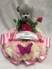 Artificial Silk Flower Teddy Wreath Ring Tribute Child Memorial