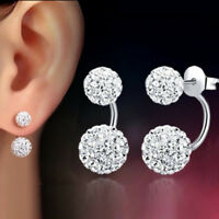 1 Pair Women Silver Double Beaded Rhinestone Crystal Stud Disco Ball Earrings