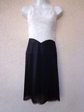 """VTG 50s Vanity Fair FULL SLIP Silky Tricot Nylon 13"""" Lace Bra Area Black & White"""