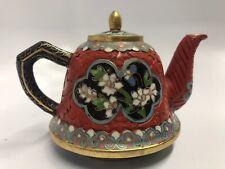 Exquisite Vintage Cloisonné & Cinnabar Teapot Rare Example Estate Find