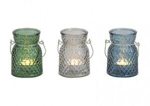 Windlicht Kerzhalter Set aus Glas mit Griff B10 x T7cm 3-fach sortiert