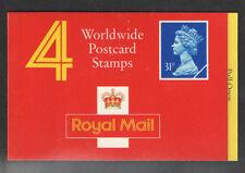 GB QEII CODICE A BARRE LIBRETTO GH1 1990 4 x in tutto il mondo cartolina FRANCOBOLLI Cyl W2 W1 W1