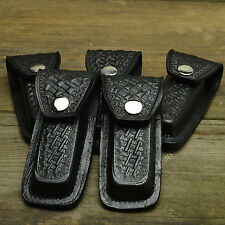5 Pc Wholesale Dealer Lot Black Basketweave Pattern Leather Sheath Pouch
