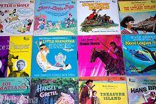 Vintage Lot of 14 Disney Children's Records 33 1/3 Rpm 1960's w/Littlest Outlaw