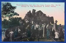 1912 Antique Original TRAIN WRECK Camp Douglas Wis Chicago RAILWAY Postcard