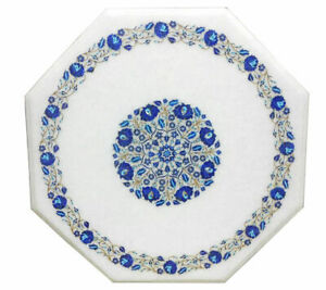 White Marble Side Coffee Table Top Lapis Lazuli Inlay Marquetry Home Decor H1387