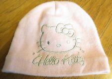 HELLO KITTY Pink & Silver Stretch Hat Cap Warm Acrylic Angora Girls Toddler Baby