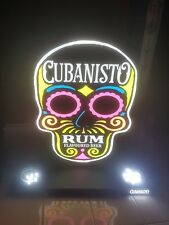 More details for cubanisto skull led illuminated back bar display / wallhung neon style sign new