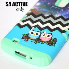 Samsung Galaxy S4 Active i9252 - HARD&SOFT SKIN CASE MINT GREEN BLUE OWL CHEVRON