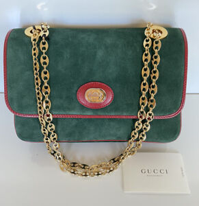 NWT $2890 Gucci Marina Suede Chain Shoulder Hand Bag Green Made in Italy