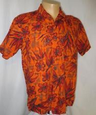 60's Vtg Hawaiian Shirt Metallic & Orange Waikiki Wear, Duke of Hollywood Size M