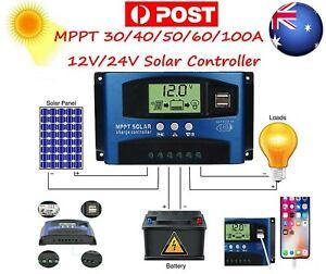 AU MPPT 30~100A 12/24V Solar Panel Regulator Charge Controller Auto LCD Dual USB