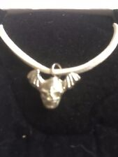 """Skull Bat TG329A Made In Fine English Pewter On 18"""" White Cord Necklace"""