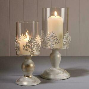 PILLAR CANDLE HOLDERS GLASS DOME HOLDER DECORATIVE CHRISTMAS NEW H6W2